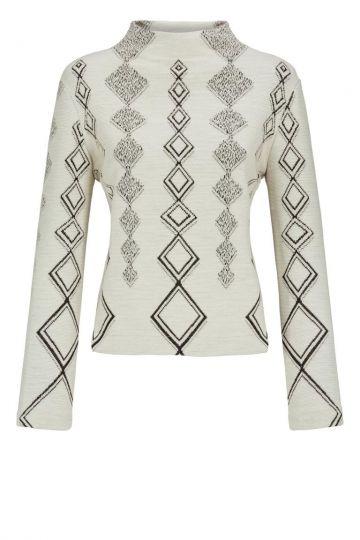 Weißes Sweatshirt Donba mit Rautenprint | Ana Alcazar