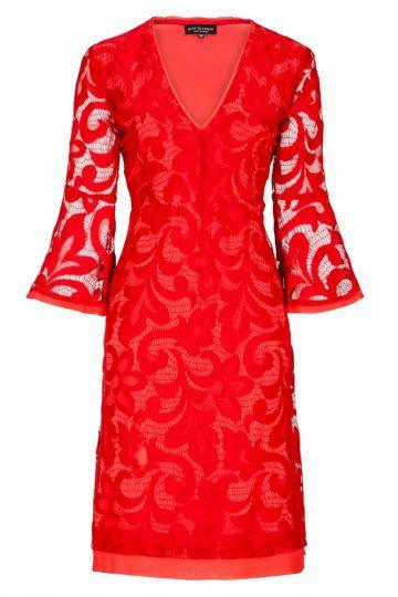 Romantisches Spitzenkleid Benomy in Rot