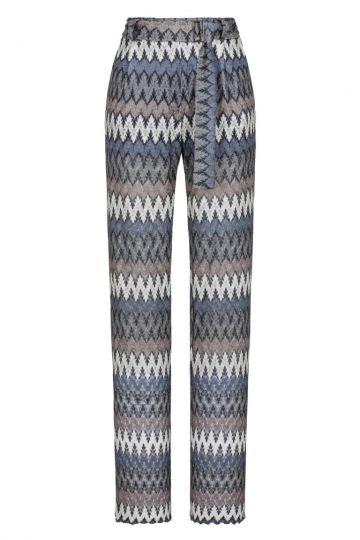 Blau-Graue weite Strickhose mit Gürtel | Ana Alcazar