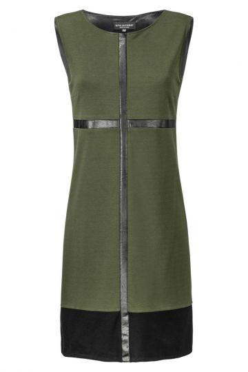 A-Linien Kleid Zimeona Olive mit Kunstlederband