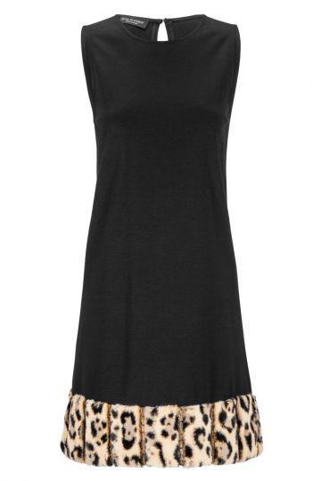 Schwarzes A-Linien Kleid Doleoris mit Kunstpelz | Ana Alcazar