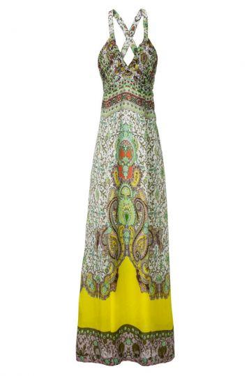 Langes Seidenkleid Amarilly im bunten Paisley-Print