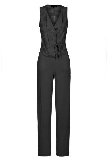 Schwarzer Jumpsuit mit Kreis-Muster | Ana Alcazar