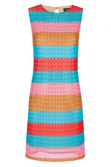 Buntes Häkel A-Linien Kleid Fernanday Rot-Blau-Rosa