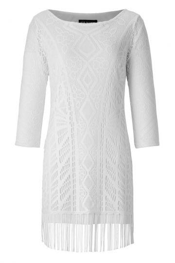 Tunika Kleid Alvinea in Weißer Häkel-Optik