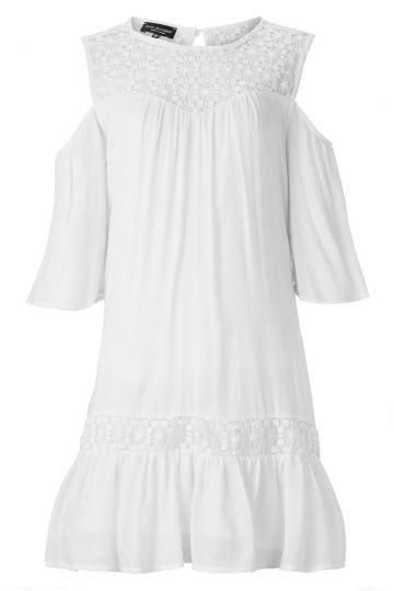 Weißes Rüschenkleid Asheny mit Cut-Outs