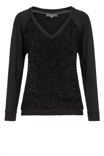 Schwarzes Sweatshirt Darkona mit Kunstpelz | Ana Alcazar