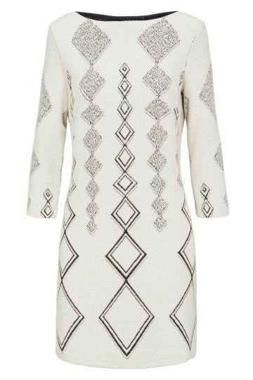 Weißes A-Linien Kleid Donbia mit Rautenprint | Ana Alcazar