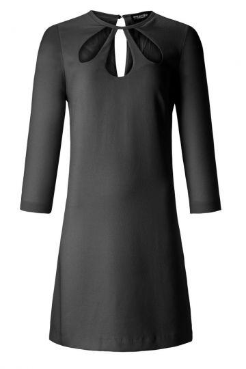 Cut Out Kleid Ansophea Black mit langen Ärmeln