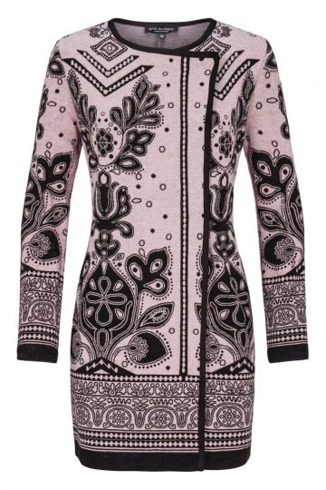 Schwarz-Rosa Cardigan Diwasy mit Ornament-Muster | Ana Alcazar