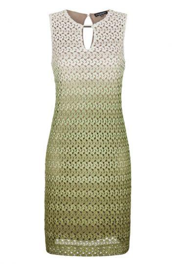 Beige-Grünes A-Linien Strickkleid | Ana Alcazar