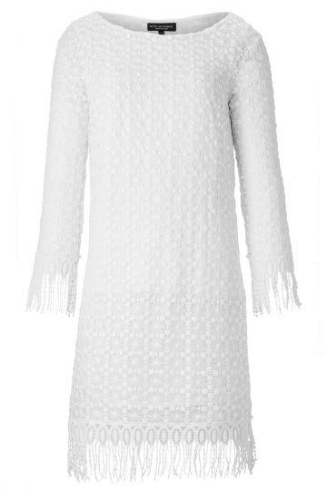 Tunikakleid Aidea aus weißer Spitze mit Fransen