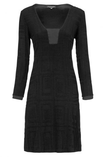 Schwarzes Kleid Dyra mit Quadrat-Print | Ana Alcazar
