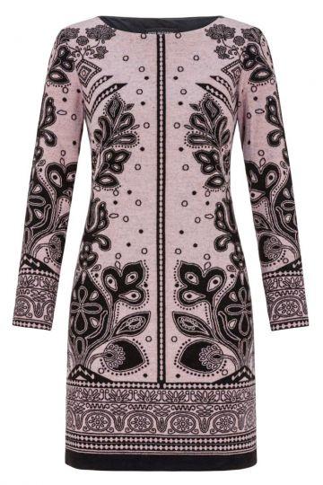 Schwarz-Rosa A-Linien Kleid Diwassa mit Ornament-Print | Ana Alcazar