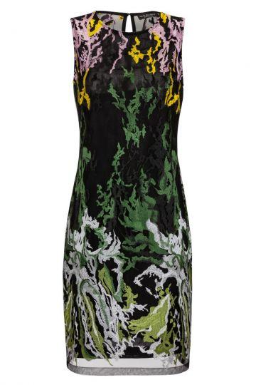 Schwarzes Black Label A-Linien Kleid Bestickt