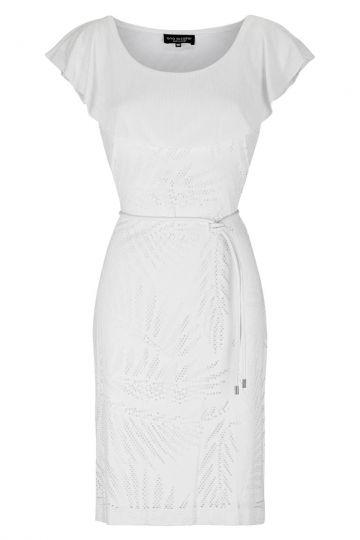 Weißes Volantkleid Fareta mit Carmenausschnitt