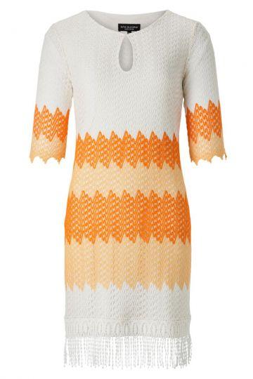 Tunika Kleid Atrona mit Fransen in Weiß & Orange