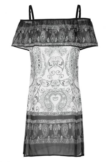 Schwarz-Weißes Seiden Offshoulder-Kleid Ornament | Ana Alcazar