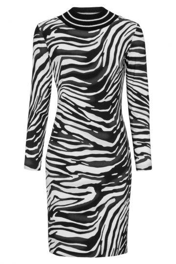 Schwarz-Weißes Langarmkleid Deleana im Zebra-Print | Ana Alcazar