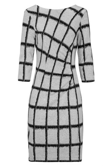 Gerafftes Kleid Damielles mit grauem Karo-Print | Ana Alcazar