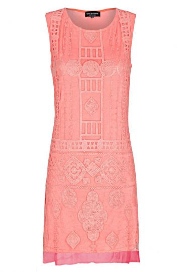 Korall-Rosa Spitzen A-Linen Kleid Falicity