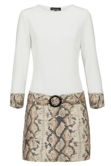 Weiß-Beiges Tunikakleid Dunwary mit Schlangenprint | Ana Alcazar