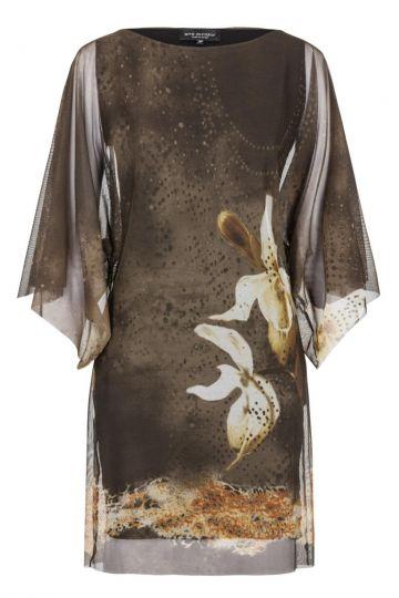 Khaki Tunikakleid Gwiney Orchideen-Print