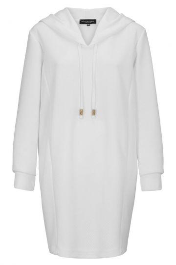 Hoody Kleid Darlobis in Weiß mit langen Ärmeln | Ana Alcazar