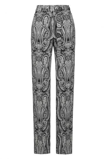 Paisley Weite Sommerhose in Schwarz-Weiß | Ana Alcazar
