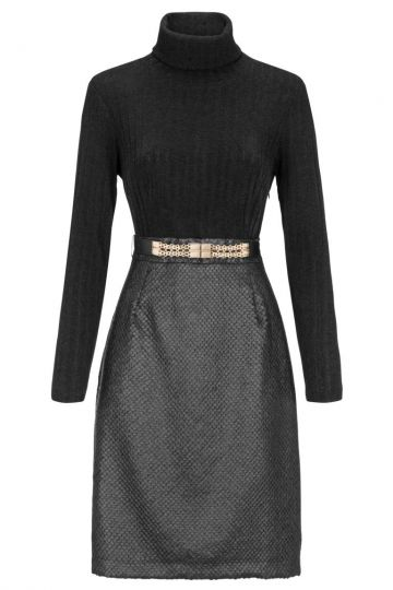 Schwarzes Rollkragenkleid Damasky mit Gürtel | Ana Alcazar