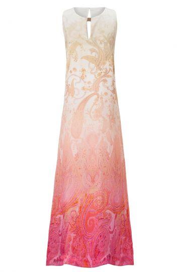 Langes Seidenkleid Aphrosea im Rosa Paisley Print