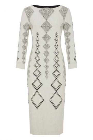 Weißes Midi-Kleid Donbis mit Rautenprint | Ana Alcazar