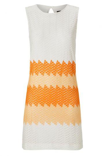 Sommerkleid in A-Linie Altrophes in Weiß & Orange