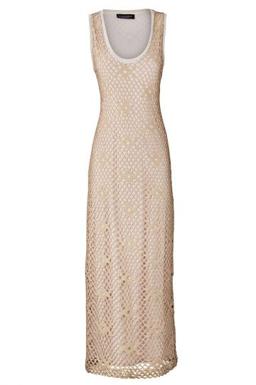 Langes Häkelkleid Breathis in Beige mit Lurex