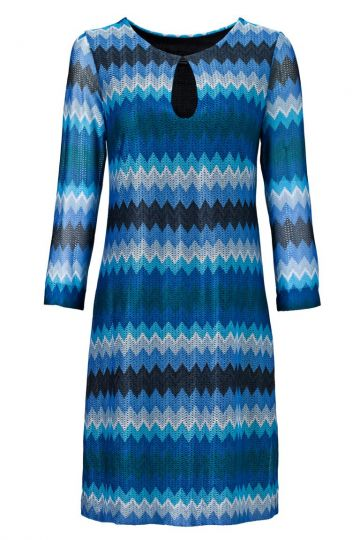 Tunikakleid Vonelite Blue mit Zick-Zack Strick