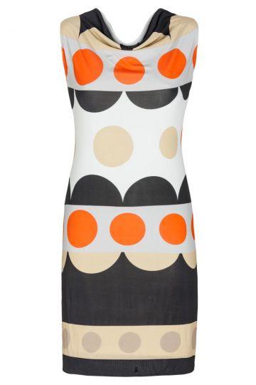 Polkadot A-Linien Kleid Femi Schwarz-Orange-Weiß