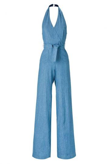 Neckholder Jumpsuit Amalina in leichtem Jeans