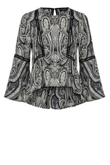 Paisley Volant Bluse in Schwarz-Weiß | Ana Alcazar