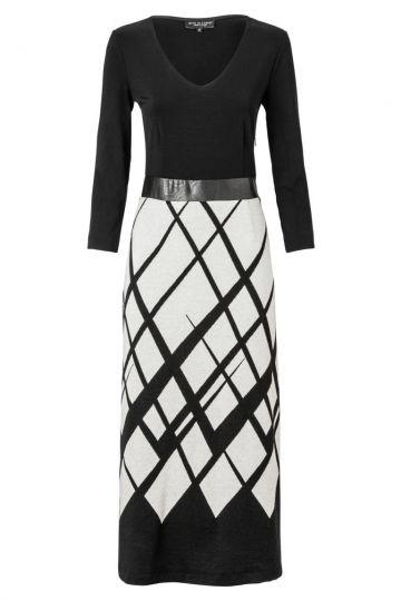 Elegantes Kleid Zowenis in Schwarz und Weiß