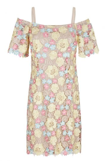 Yellow-Rose Flowers Lace Offshoulder Dress Gigina