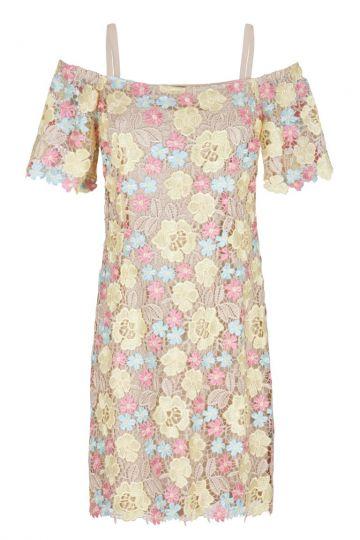 Gelb-Rosa Blumen Spitzen Offshoulderkleid Gigina