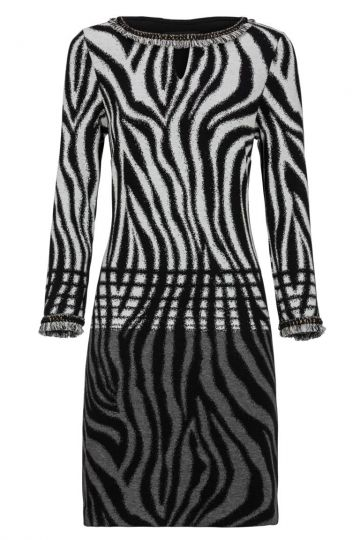 Schwarz-Weißes Tunikakleid Dankeory mit Zebra-Print | Ana Alcazar