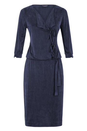Blaues Kleid Dreiviertel-Ärmel Flawis