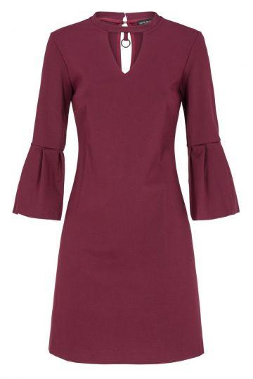 Bordeaux Kleid Deauby mit Volant-Ärmel | Ana Alcazar