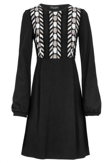 Schwarzes Empirekleid Delila mit Zierborte | Ana Alcazar