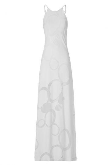 Langes weißes Kleid Aeropy mit Kreisel-Muster | ana alczar