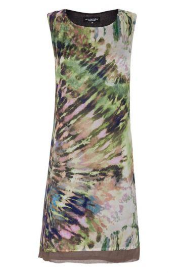 Grün-Braunes Seiden A-Linien Kleid Fayrena