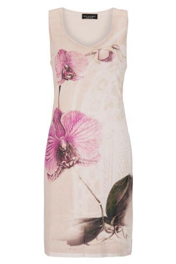 Rosa Trägerkleid Gesiny Orchideen-Print