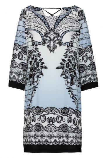 Blau-Weißes Tunikakleid mit Ornamentprint | Ana Alcazar