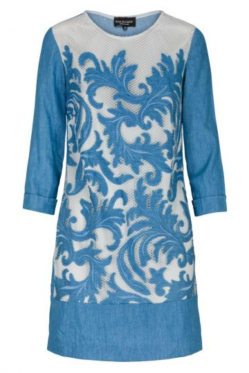 Denim Tunika Kleid Adaele mit Ornament-Motiv